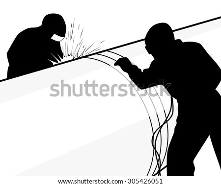 Vector illustration of a welders on a pipe