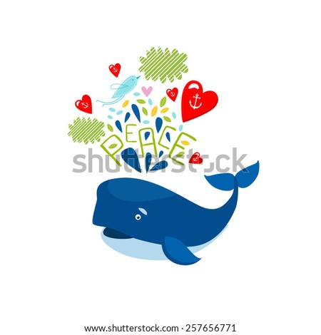 Vector illustration of a whale - stock vector