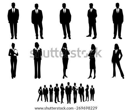 Vector illustration of a white collar workers set