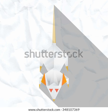Vector illustration of a white paper rat with red eyes. Creased paper. Paper background. - stock vector