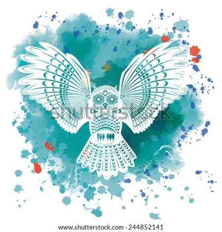 Vector illustration of a wild totem animal - Owl - in graphic style on a watercolor background - stock vector