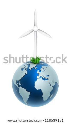 Vector illustration of a wind generator on globe world. Part of free energy set. - stock vector
