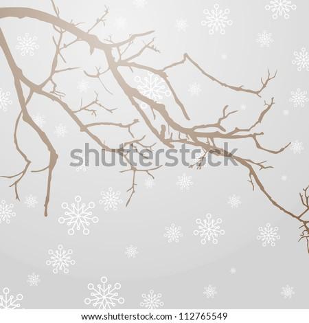 Vector Illustration of a winter Branch - stock vector