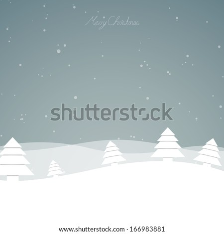 Vector Illustration of a Winter Landscape - stock vector