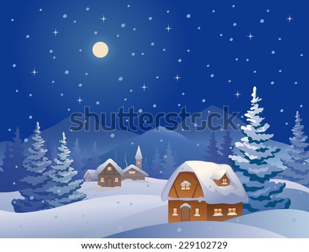 Vector illustration of a winter night village at the mountains - stock vector