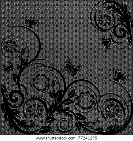 vector illustration of a wire metal texture with floral ornament - stock vector