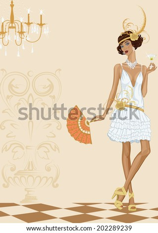 Vector illustration of a woman in style of the twenties. Contemporary woman dressed in style of the twenties standing with glass of cocktail  - stock vector