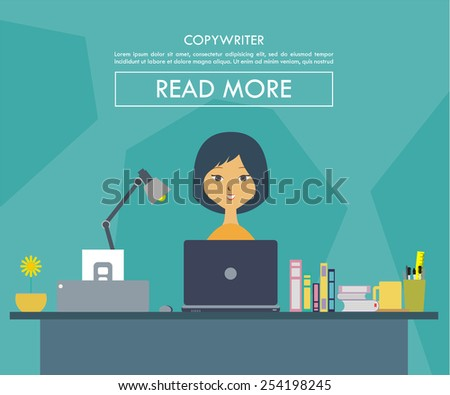 vector illustration of a women on his desk working as a copywriter - stock vector