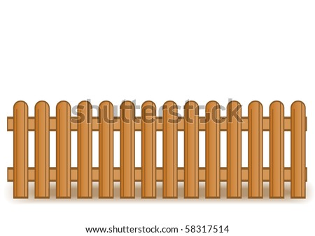 Vector illustration of a wooden brown fence