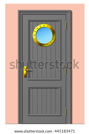Vector illustration of a wooden painted doors with porthole in a marine style