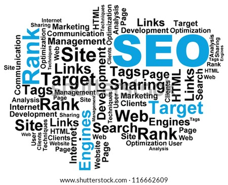 Vector illustration of a wordcloud on the topic of search engine optimization. - stock vector