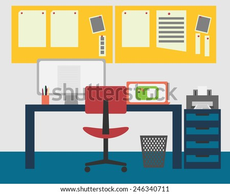 Vector Illustration of a working space. - stock vector