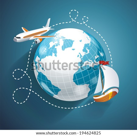 Vector illustration of a world globe, an airplane and yacht. Cruise or logistic symbol - stock vector