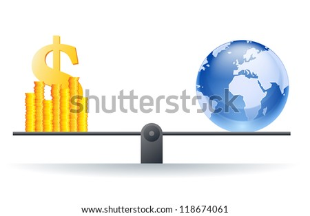 Vector illustration of a world globe on a scale with heaps of gold dollar coins. - stock vector