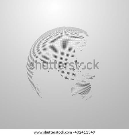 vector illustration of a world map. globe label design. world global communication concept. international communication concept. global world vector map. halftone vector world map - stock vector