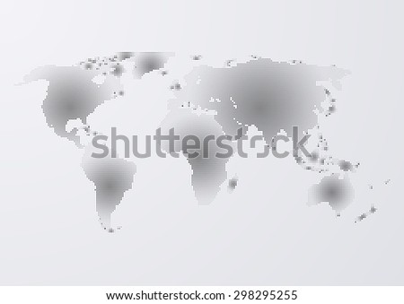 Vector illustration of a world map of dots. - stock vector