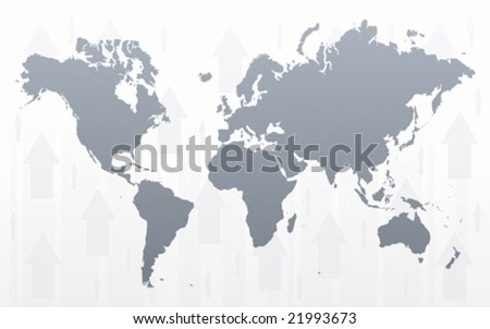 Vector illustration of a world map with conceptual arrows background. - stock vector