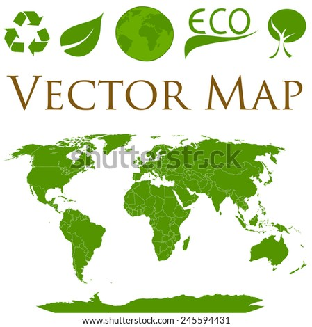 Vector illustration of a world map with icons of ecology