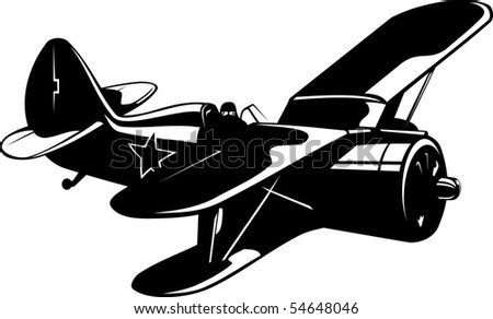 Vector illustration of a WW2 Soviet fighter black and white - stock vector