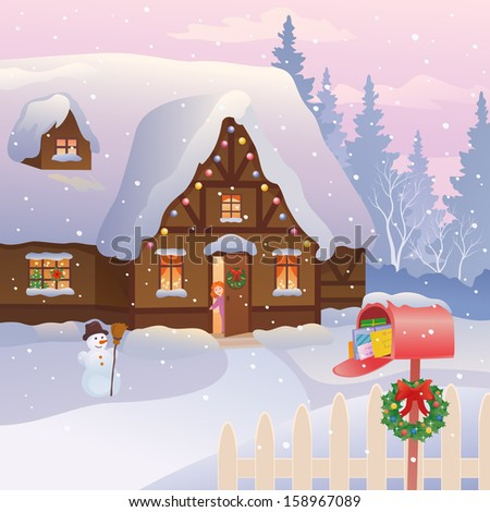 Vector illustration of a xmas cottage with a full mailbox and a little girl at the door - stock vector