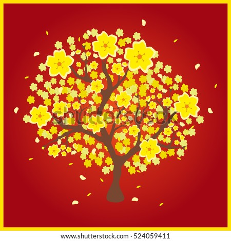 "Vector illustration of a yellow peach tree popular in Vietnam, which is called ""Hoa Mai"" in Vietnamese language; red background"
