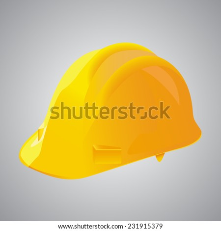 Vector illustration of a yellow protection helmet used on construction sites - stock vector