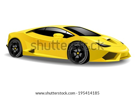 vector illustration of a yellow sports car - stock vector