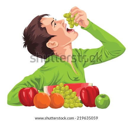 Vector illustration of a young boy eating fresh grapes. - stock vector