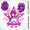 "Vector illustration of a young cheerleader performing a ""High V"" pose with detailed pom poms. She sits inside a zebra stripe star graphic with blank banner and 3d stars shooting out from behind her. - stock photo"