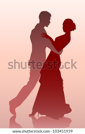 Vector illustration of a young couple dancing - stock vector
