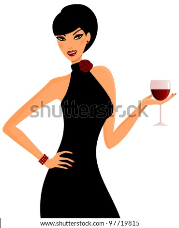 Vector illustration of a young elegant woman holding a glass of red wine. - stock vector