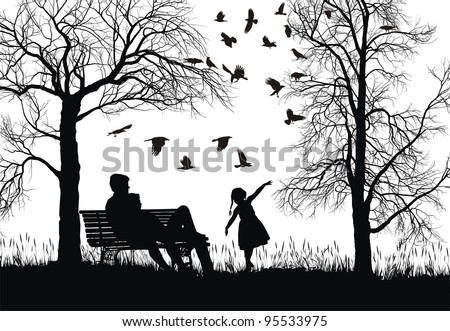 vector illustration of a young family in the park, trees and crows