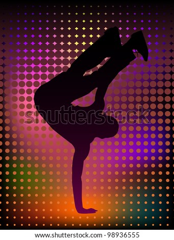 Vector illustration of a young man breakdancer - stock vector