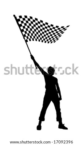 vector illustration of a young man holding a black and white checkered flag - stock vector