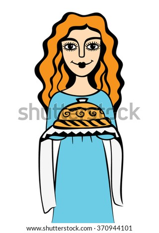 Vector illustration of a young woman greeting with bread and salt. Hand drawn graphics. Isolated on white.