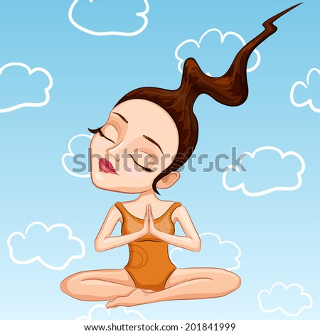 vector illustration of a young woman meditating in a bathing suit meditating - stock vector