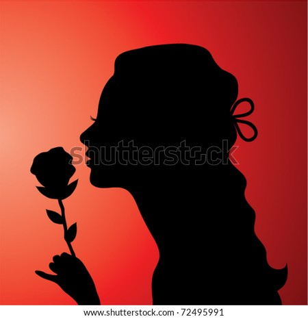 vector illustration of a young woman with a rose