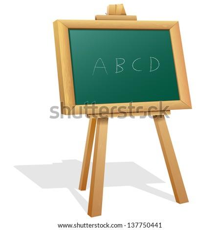 vector illustration of abc on wooden blackboard - stock vector