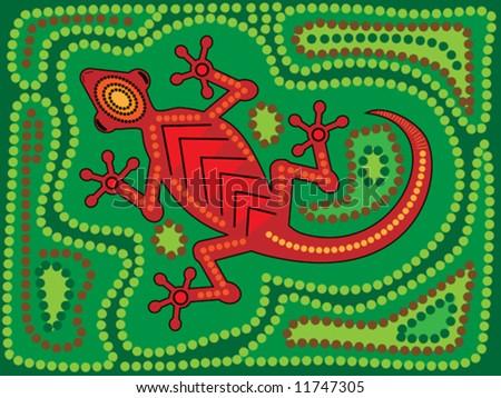 Vector illustration of aboriginal style lizard on green background - stock vector