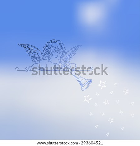 Vector illustration of abstract background for design. Blurred background. Abstract blurred background. Little angel playing trumpet. Sky background. Abstract mesh background. Template for poster. - stock vector