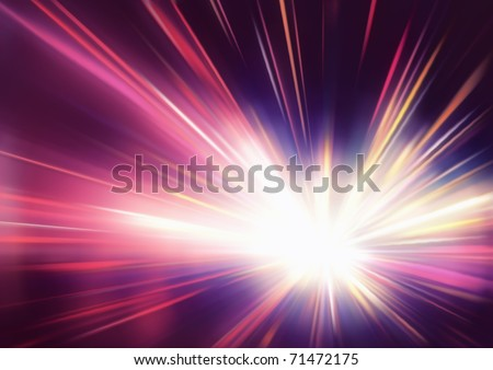 Vector illustration of abstract background with blurred magic neon red light rays - stock vector