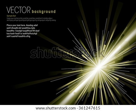 Vector illustration of abstract background with neon green light rays. - stock vector