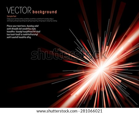 Vector illustration of abstract background with neon red light rays. - stock vector