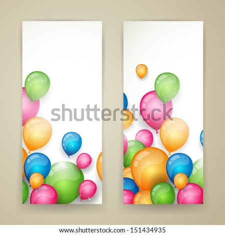 Vector Illustration of Abstract Banners with Colorful Balloons - stock vector