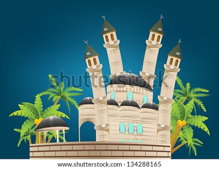 Vector illustration of abstract beautiful eid background with mosque. - stock vector