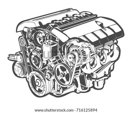 Vector Illustration Abstract Car Engine 716125894