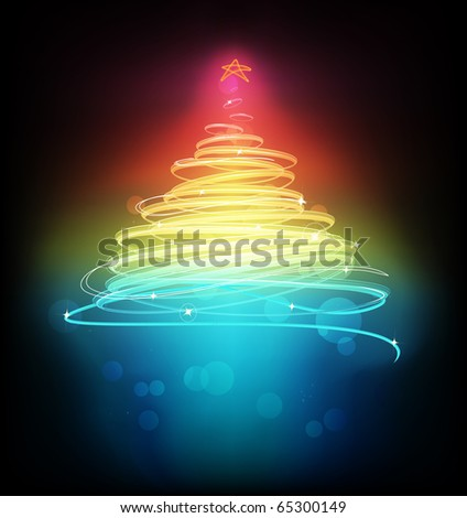 Vector illustration of Abstract  Christmas tree on the black background. - stock vector