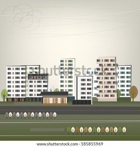 Vector illustration of abstract city landscape - stock vector