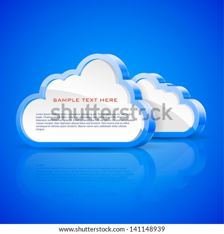 Vector illustration of abstract clouds on blue background. - stock vector