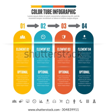 Vector illustration of abstract color tube infographic design element. - stock vector